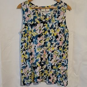 St Tropez linen sleeveless floral patterned top